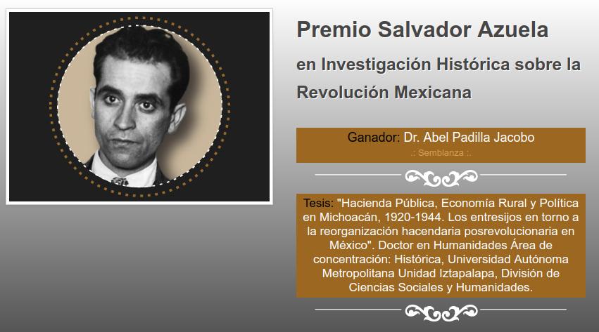 Abel Padilla Jacobo gana premiodel INEHRM con tesis doctoral